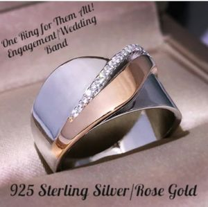 925 Sterling Silver w Rose Gold/ CZ Wedding Ring
